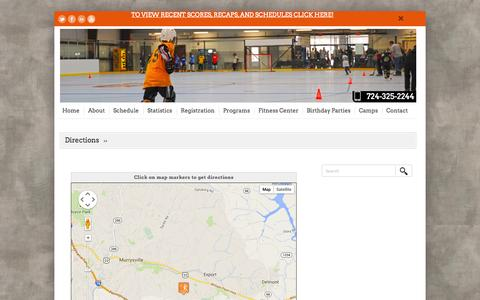 Screenshot of Maps & Directions Page murrysvillesportzone.com - Directions | Murrysville SportZone - captured Oct. 25, 2014