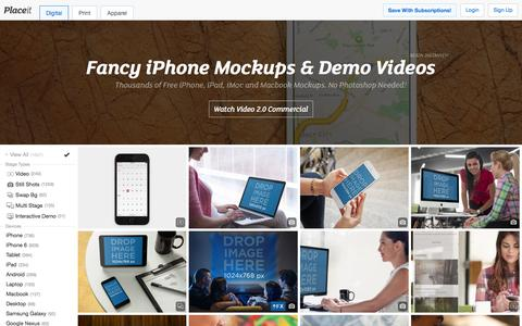 Screenshot of Home Page placeit.net - Free iPhone Mockup Generator & App Demo Videos by Placeit - captured Feb. 11, 2016