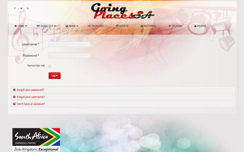 Screenshot of Login Page goingplacessa.com - Login - Going Places SA | Entertainment News, Movie Reviews, Theatre Reviews, Dining and Restaurant Reviews, Motoring News, Art News, Sport News, Bookings, Tourism Information | Durban, KZN, Kwazulu Natal - captured Oct. 6, 2014