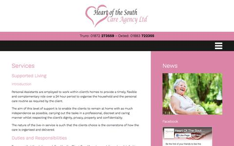Screenshot of Services Page heartofthesouthcareagency.com - Services - Heart of the South Care Agency - captured Sept. 24, 2018