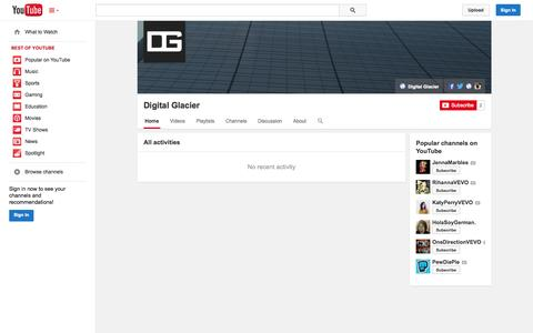 Screenshot of YouTube Page youtube.com - Digital Glacier  - YouTube - captured Nov. 3, 2014