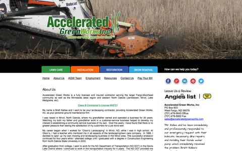 Screenshot of About Page acceleratedgreenworks.com - About Us | Accelerated Greenworks Inc - captured Oct. 4, 2014