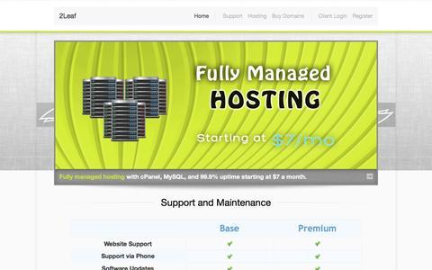 Screenshot of Support Page 2leaf.com - 2Leaf | Website Support and Maintenance - captured July 8, 2016
