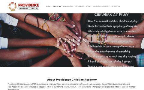 Screenshot of About Page providenceca.com - About Us — Providence Christian Academy - captured Nov. 14, 2016