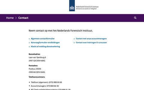 Screenshot of Contact Page forensischinstituut.nl - Contact | Forensischinstituut.nl - captured Oct. 19, 2018