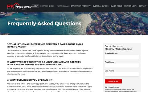 Screenshot of FAQ Page pkproperty.com.au - Frequently Asked Questions - captured Sept. 26, 2018