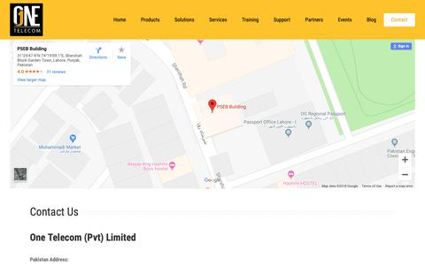 Screenshot of Contact Page onetelecom.pk - Contact – Welcome to One Telecom (Pvt) Limited - captured Nov. 17, 2018