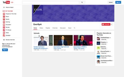 Screenshot of YouTube Page youtube.com - ExorSpA  - YouTube - captured Oct. 22, 2014