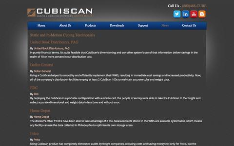 Screenshot of Testimonials Page cubiscan.com - Cubing and Weighing Systems Testimonials   CubiScan - captured Sept. 30, 2014