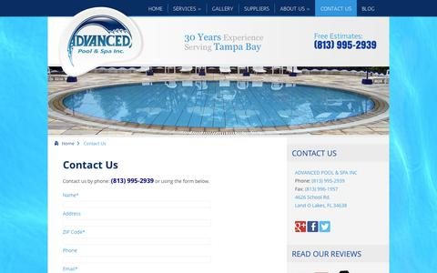 Screenshot of Contact Page advancedpool-spa.com - Contact Advanced Pool and Spa in Tampa, FL - 813-995-2939 - captured Oct. 4, 2014