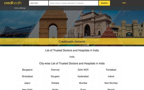 Screenshot of Site Map Page credihealth.com - Top Doctors and Hospitals in India | Credihealth - captured April 8, 2017