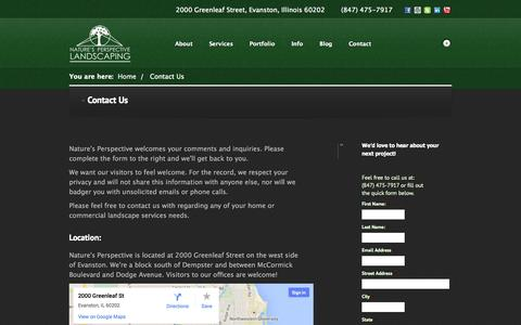 Screenshot of Contact Page naturesperspective.com - Home and commercial landscaping and maintenance. - captured Oct. 27, 2014