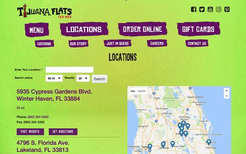 Screenshot of Locations Page tijuanaflats.com - Locations - Tijuana Flats - captured Dec. 6, 2016