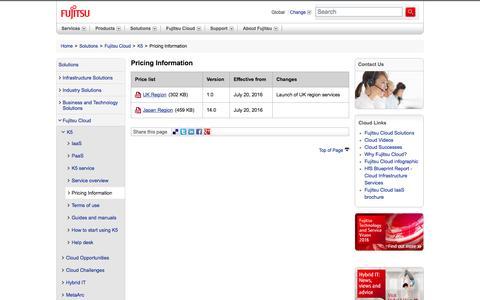 Screenshot of Pricing Page fujitsu.com - Pricing Information - Fujitsu Global - captured July 23, 2016