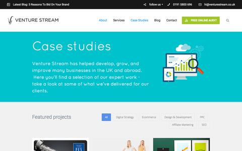Screenshot of Case Studies Page venturestream.co.uk - Digital Marketing & E-Commerce Case Studies | Venture Stream - captured Nov. 23, 2015