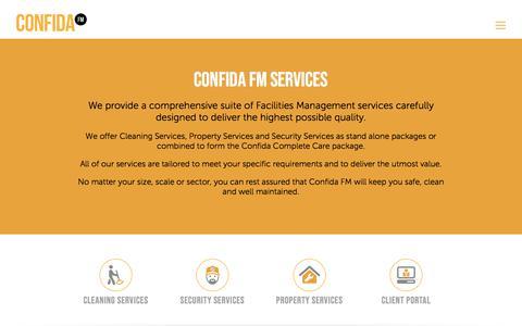 Screenshot of Services Page confida.fm - Confida FM Facilites Management Services - captured July 10, 2018