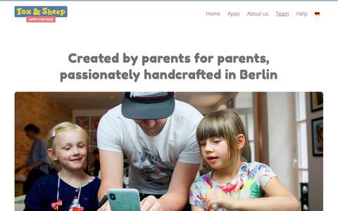 Screenshot of Team Page foxandsheep.com - Meet the team | Fox and Sheep Apps for Kids - captured Feb. 12, 2019