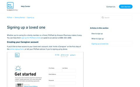 Screenshot of Support Page pillpack.com - Signing up a loved one – PillPack - captured Jan. 23, 2020