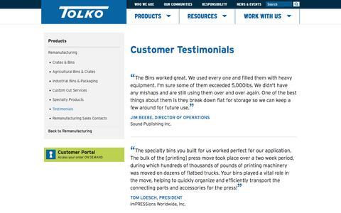 Screenshot of Testimonials Page tolko.com - Products - Remanufacturing - Testimonials - Tolko - captured Feb. 22, 2016
