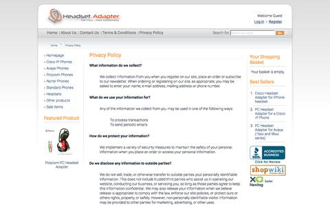 Screenshot of Privacy Page headsetadapter.com - Headset Adapter Co. Privacy Policy - captured Nov. 4, 2016