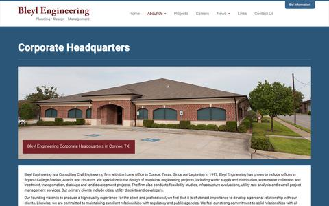 Screenshot of About Page Locations Page bleylengineering.com - Corporate Headquarters | Bleyl Engineering - captured Oct. 10, 2017