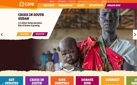 Screenshot of Home Page care.org - CARE | A Leading Humanitarian Organization Fighting Global Poverty - captured Sept. 25, 2014