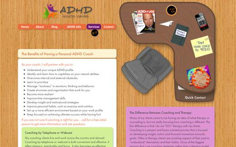 Screenshot of Services Page adhdexecutivecoach.com - ADHD Executive Coaching - captured Oct. 4, 2014