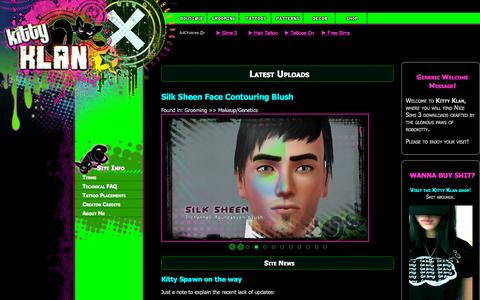 Screenshot of Home Page kittyklan.com - Kitty Klan | Sims 3 Custom Content: Hair, Tattoos, Patterns, Nerd stuff and more - captured Sept. 17, 2015