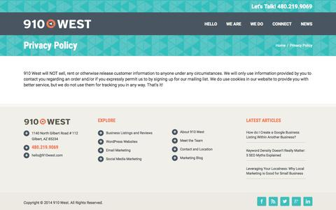 Screenshot of Privacy Page 910west.com - Privacy Policy - 910 West - captured Oct. 2, 2015
