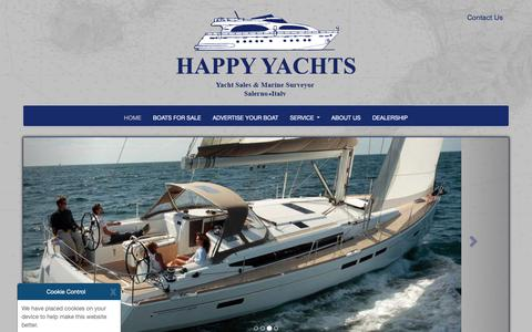 Screenshot of Home Page happyachts.com - Welcome to - Happy Yachts - captured Nov. 3, 2018
