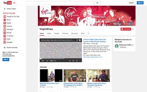 Screenshot of YouTube Page youtube.com - VirginWines  - YouTube - captured Oct. 29, 2014