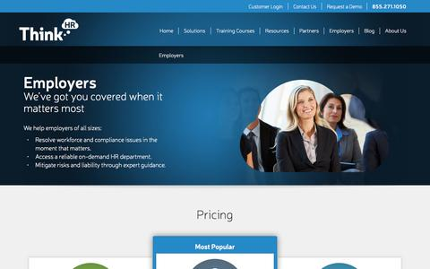 Screenshot of Pricing Page thinkhr.com - HR Advice for Employers | HR Business Solutions - ThinkHR - captured July 3, 2015