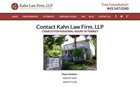 Screenshot of Contact Page kahnlawfirm.com - Contact Kahn Law Firm, LLP | Charleston Injury Attorney - captured Oct. 14, 2018
