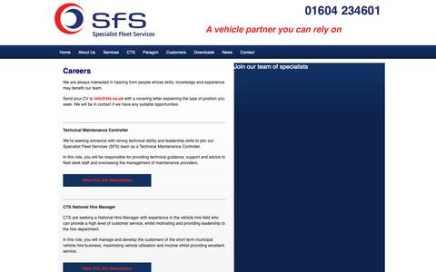 Screenshot of Jobs Page sfs.co.uk - Careers | SFS Specialist Fleet Services, Municipal Vehicle Contract Hire - captured Oct. 18, 2018