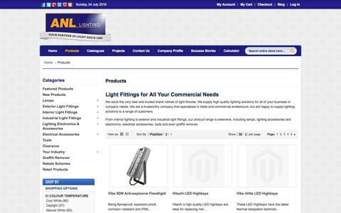 Screenshot of Products Page anllighting.com.au - Products - captured July 23, 2016