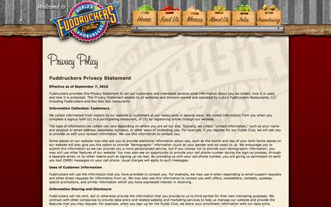 Screenshot of Privacy Page fuddruckers.com - Fuddruckers.com: Privacy Policy - captured Sept. 25, 2014