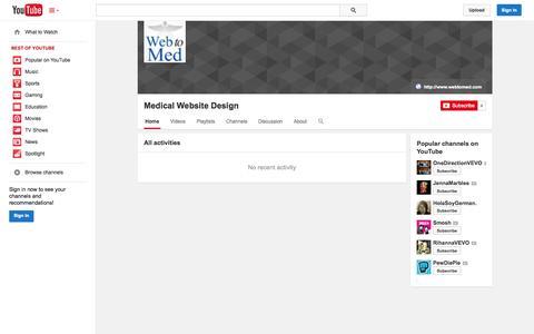 Screenshot of YouTube Page youtube.com - Medical Website Design  - YouTube - captured Oct. 25, 2014