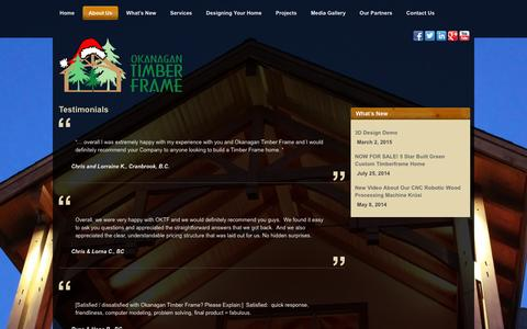 Screenshot of Testimonials Page oktimber.com - Testimonials | Okanagan Timber Frame | Salmon Arm - captured Feb. 13, 2016