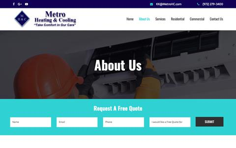 Screenshot of About Page metrohc.com - About Us | Metro Heating & Cooling in Dallas, TX (972) 279-3400 - captured Nov. 15, 2018