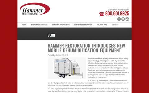 Screenshot of Blog hammerrestoration.com - Blog - Hammer Restoration Saginaw, Michigan - Hammer Restoration Saginaw, Michigan - captured Jan. 25, 2016