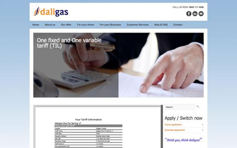 Screenshot of Pricing Page daligas.co.uk - One fixed and One variable tariff (TIL)  daligas - captured May 10, 2017