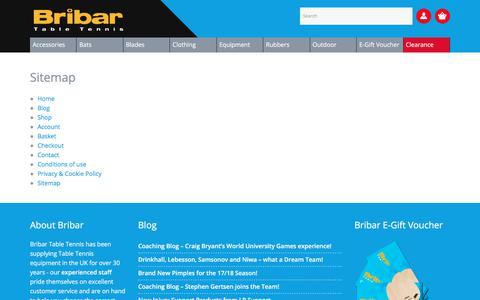 Screenshot of Site Map Page bribartt.co.uk - Sitemap - Bribar Table Tennis - captured Oct. 11, 2017
