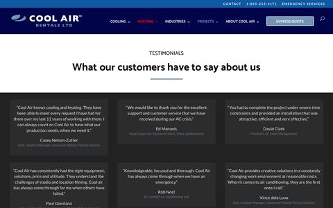 Screenshot of Testimonials Page cool-air.com - Testimonials | Cool Air Rentals | Temporary Air Conditioning | Heating | Ventilation - captured Sept. 29, 2018