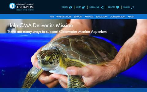 Screenshot of Support Page seewinter.com - Get Involved and Support | Clearwater Marine Aquarium - captured July 31, 2017