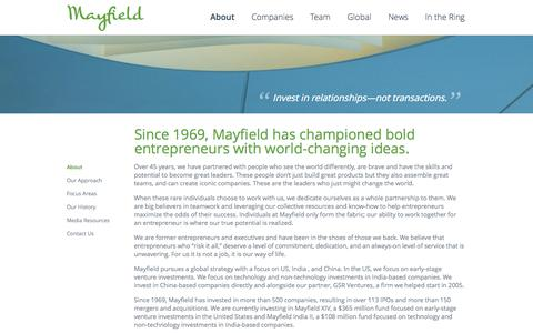 Screenshot of About Page mayfield.com - About :: Mayfield - captured Oct. 27, 2014