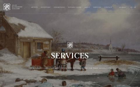 Screenshot of Services Page klinkhoff.ca - Services | Alan Klinkhoff Gallery - captured July 14, 2017