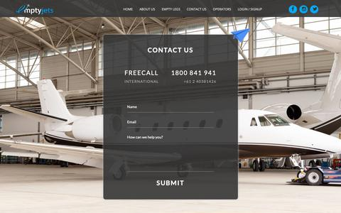 Screenshot of Contact Page emptyjets.com.au - Aircraft Charter | EmptyJets Australia - captured Sept. 28, 2018