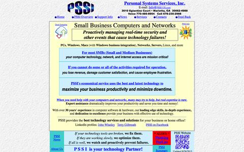 Screenshot of Home Page pssi-us.com - PSSI Personal Systems Services, Inc. - captured Oct. 2, 2014