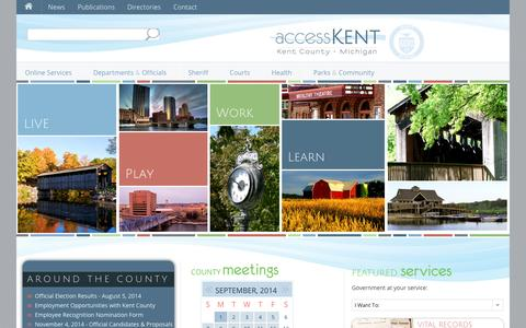 Screenshot of Home Page accesskent.com - accessKent | Kent County, Michigan - captured Sept. 23, 2014
