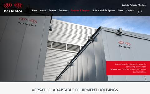 Screenshot of Products Page portastor.com - Flexible modular equipment housings for multiple sectors - captured Dec. 10, 2015